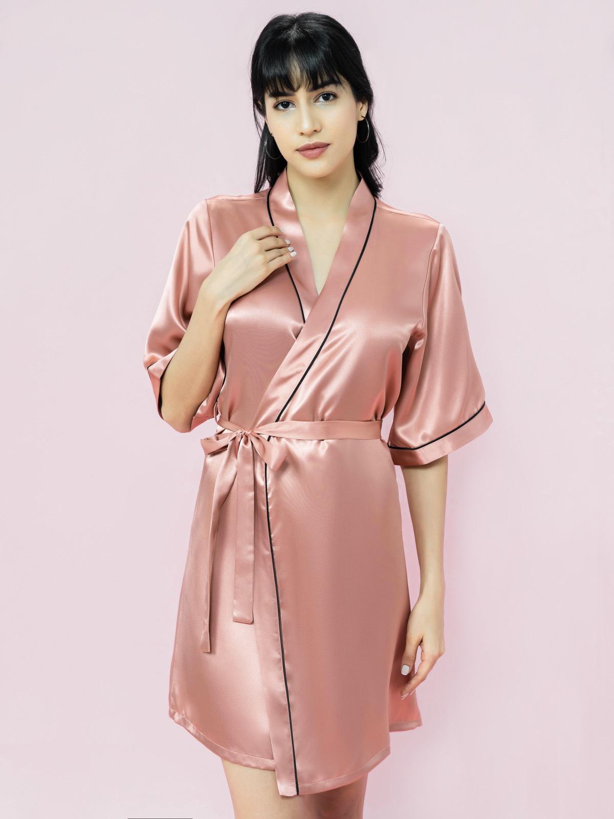 Kimono VERA satin trơn - 0131