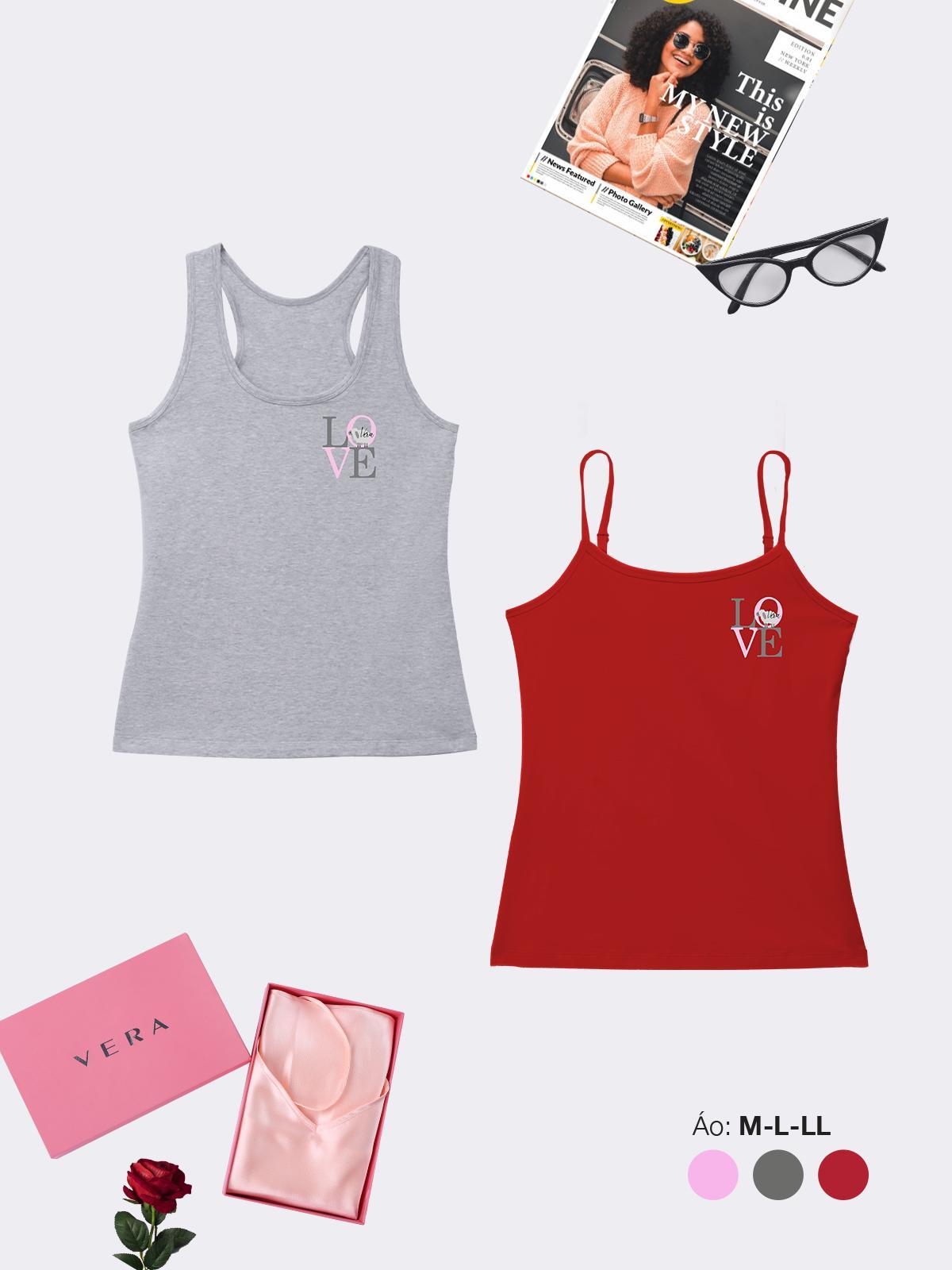 Combo 02 áo thun: áo hai dây & áo ba lỗ VERA in họa tiết