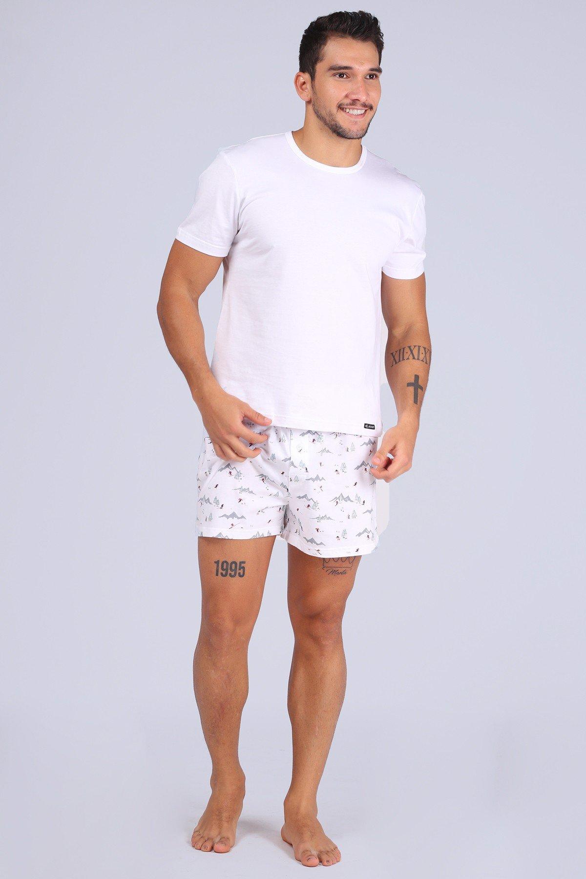 Quần Knit Boxer Jockey trắng in hình trượt tuyết - 0304