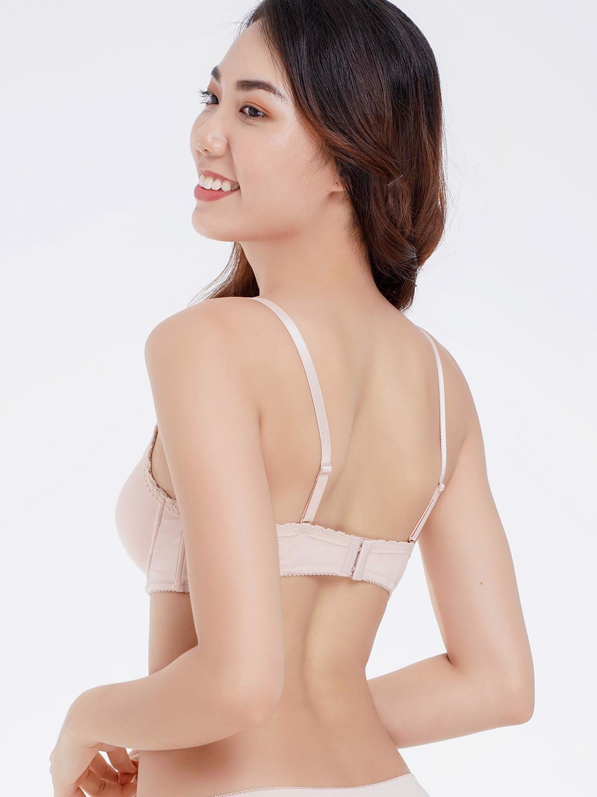 Áo ngực Misaki mút dày cúp trơn viền ren đơn giản nữ tính - 7105