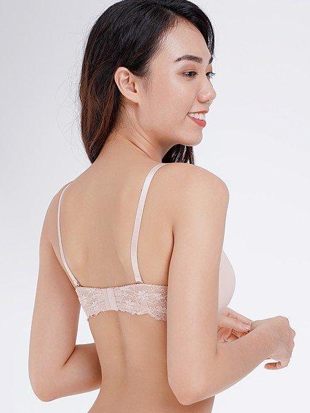 Áo ngực Misaki mút dày cúp trơn phối dây lưng ren - 8312
