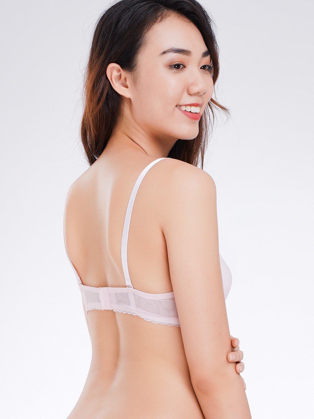 Áo ngực Misaki mút mỏng cúp trơn phối dây đai ren - 9104