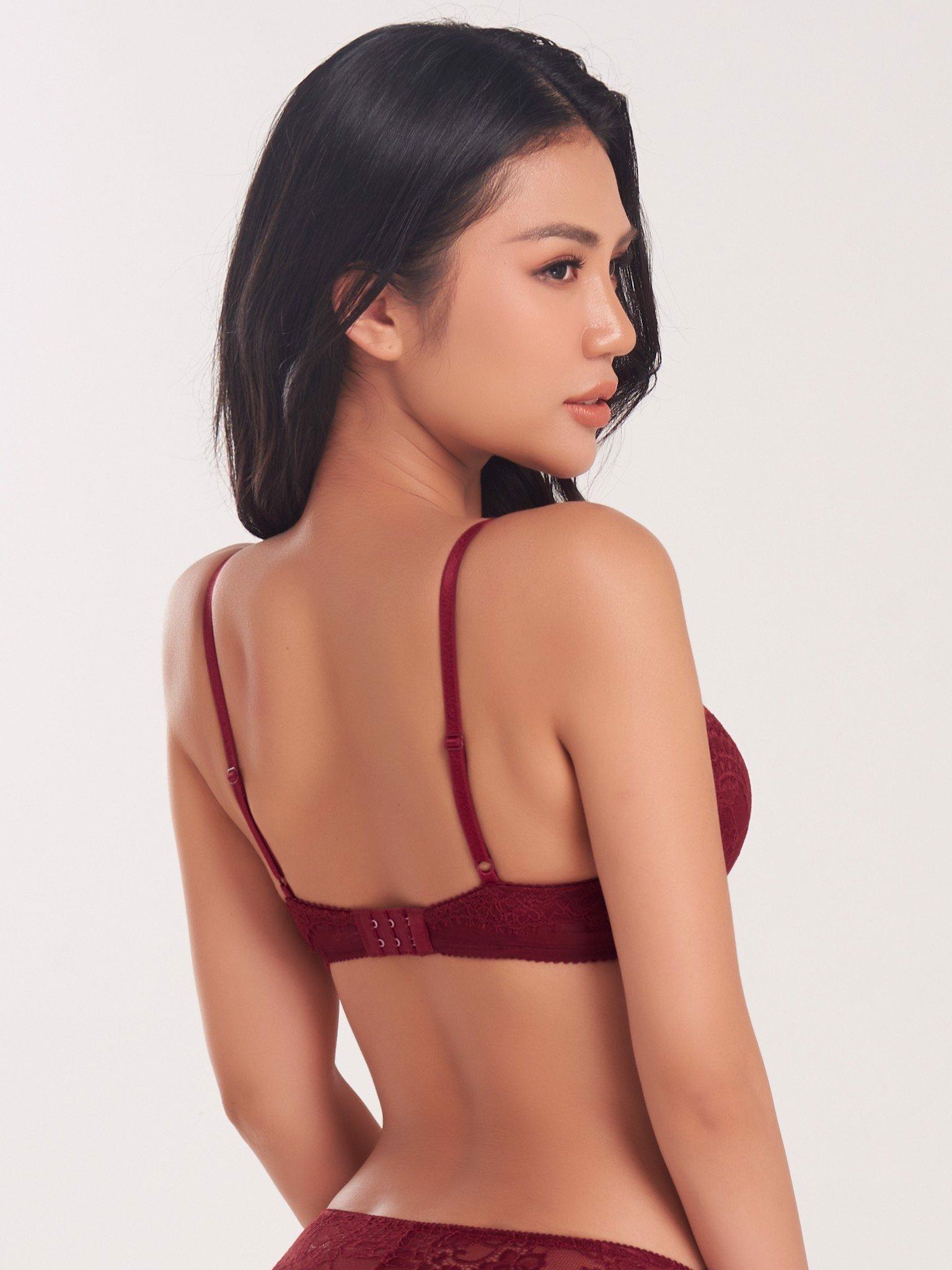 Áo ngực đệm đúc ren phối lưới - 0138