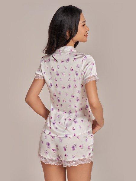 Bộ short VERA satin tay ngắn Misty Florals - 0147