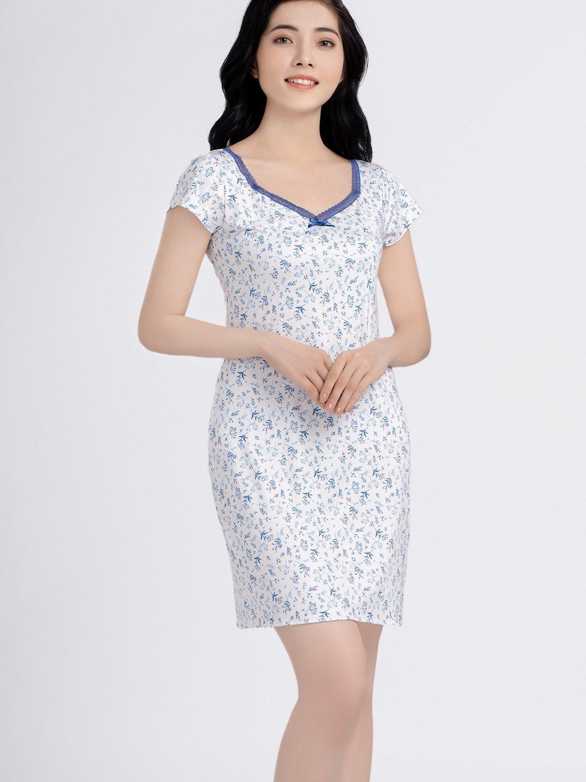 Đầm VERA có tay microfiber in hoa - 0135