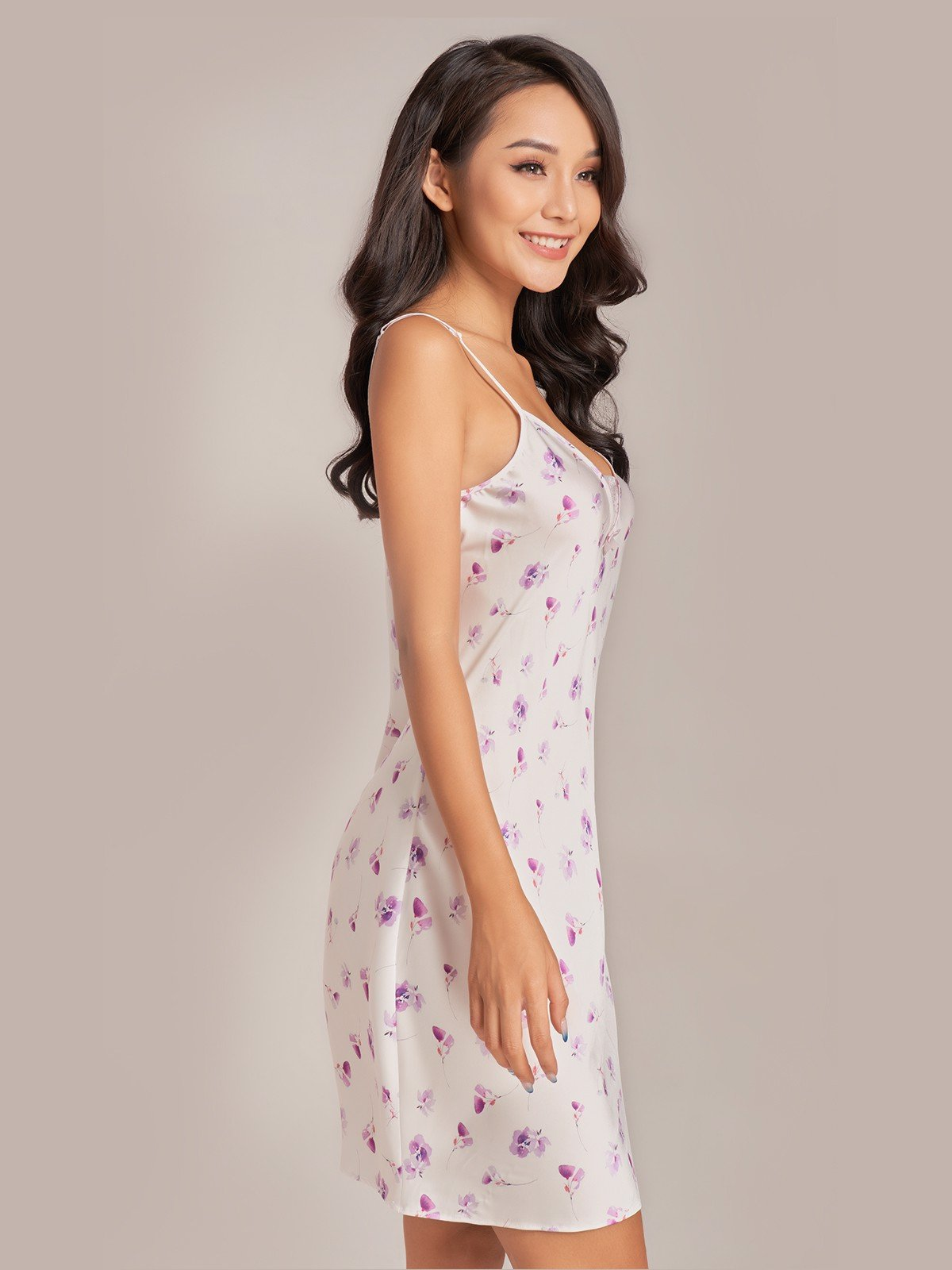 Đầm ngắn VERA satin hai dây Misty Florals - 0145