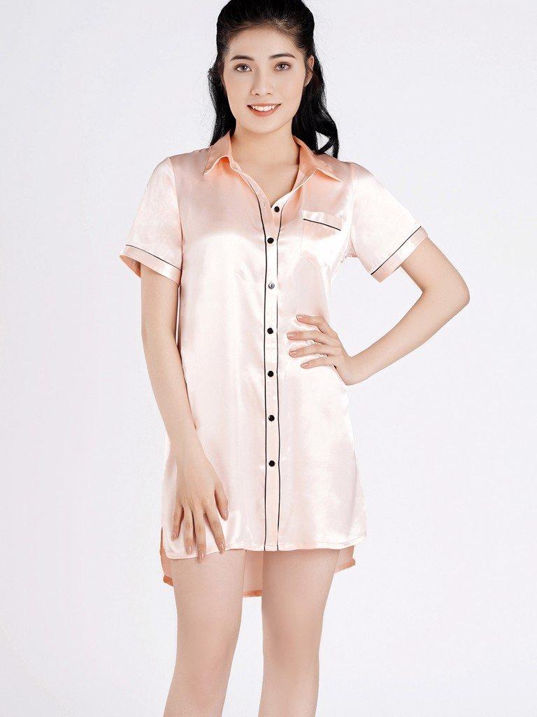 Đầm pijama VERA satin tay ngắn - 0116