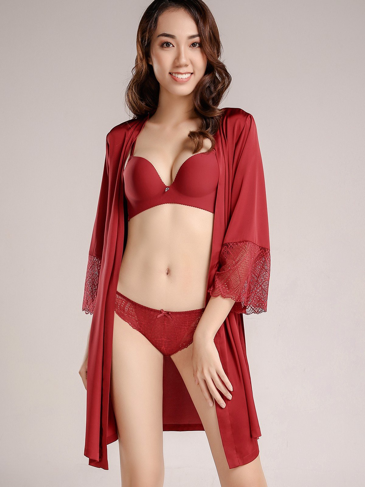 Kimono VERA satin silk phối ren - 9351