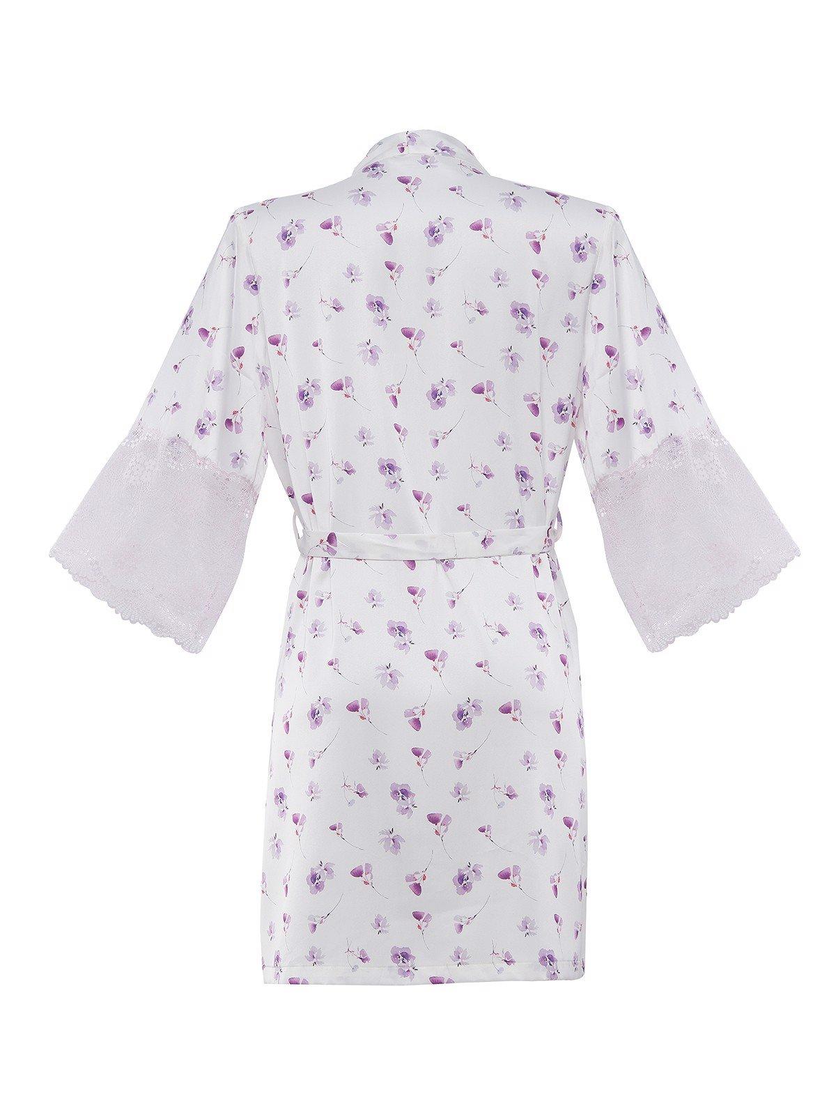 Kimono VERA satin phối ren Misty Florals - 0148